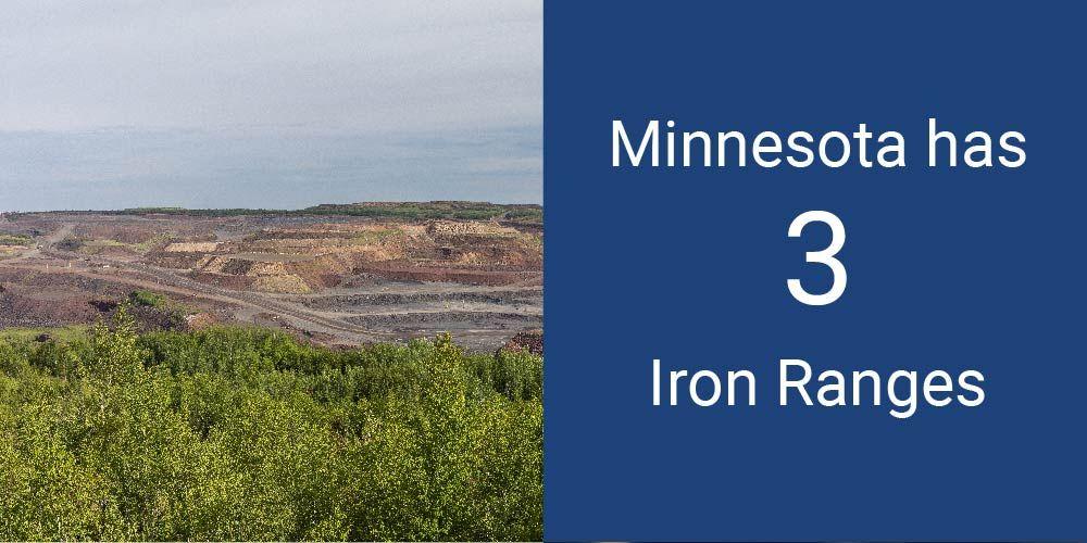 Minnesota has 3 Iron Ranges